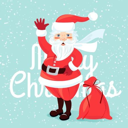 oldman: Vector illustration Waving Santa Claus with sack full of presetns. Flat style Illustration