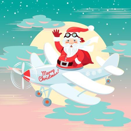 oldman: Vector illustration Waving Santa Claus flying on the plane with sack full of presetns. Flat style Illustration