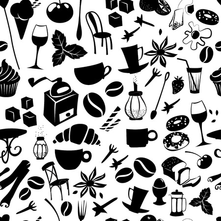 Vector illustration Seamless coffee pattern with latte, cappuccino, pies, doughnuts,  croissants, cups, glasses and other cafe objects Vector
