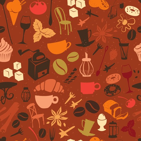 croissants: Vector illustration Seamless coffee pattern with latte, cappuccino, pies, doughnuts,  croissants, cups, glasses and other cafe objects
