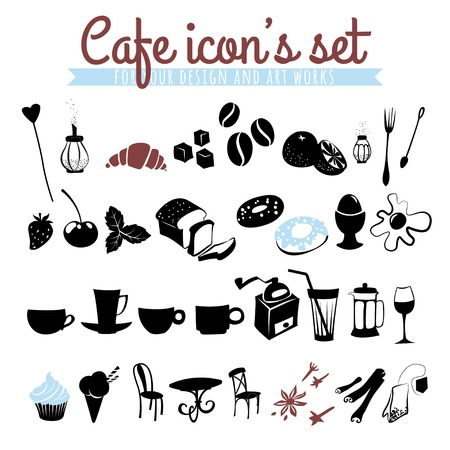 croissants: Vector illustration Set of icons coffee beans, latte, cappuccino, pies, doughnuts,  croissants, cups, glasses and other cafe objects Illustration