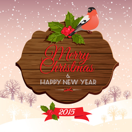 holly berry: Vector illustration Christmas signboard with holly berry and bullfinch
