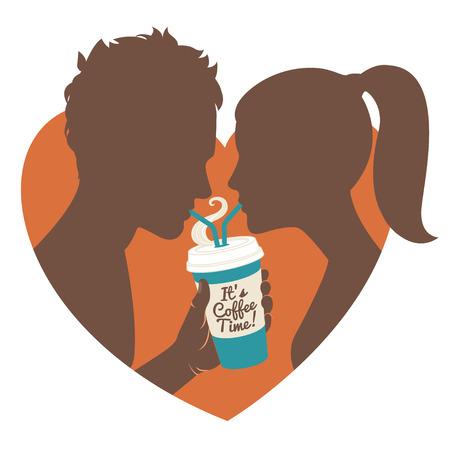 Vector illustration Couple drinking coffee. Flat style. Vector
