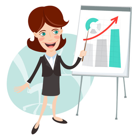 Vector Illustration of Office man presenting a graph on flip-chart. Flat style 矢量图像