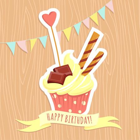 fruitcake: Vector illustration Festive birthday cake on wooden background. Flat style Illustration