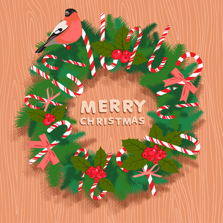 bullfinch: Vector illustration Festive christmas wreath with candy, bullfinch and wooden letters. Flat style. Illustration