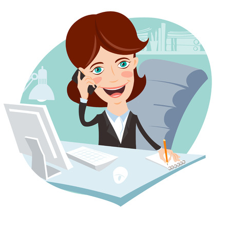writing chair: Vector Illustration of Office woman sitting at his working desk with phone Illustration