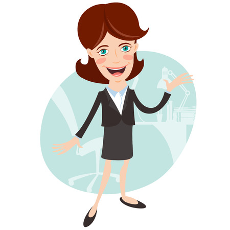 telling: Vector illustration Businesswoman telling and showing something. Flat style Illustration