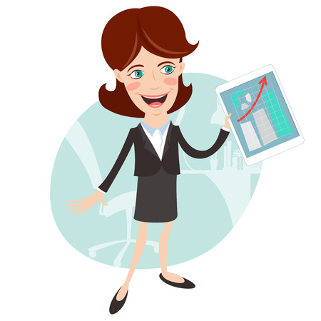 vrouw met tablet: Vector Illustration of Office woman presenting a graph on tablet. Flat style Stock Illustratie