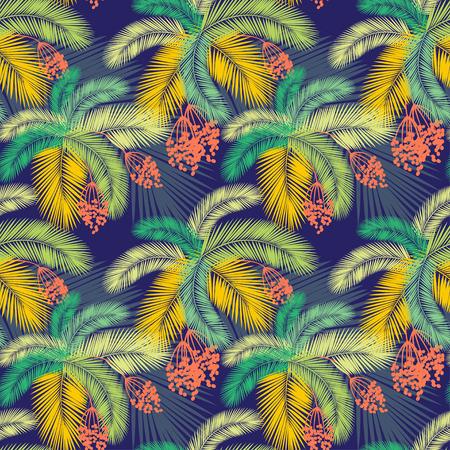 Vector illustration Vector illustration Seamless color palm leaves and fruit pattern 版權商用圖片 - 41673764