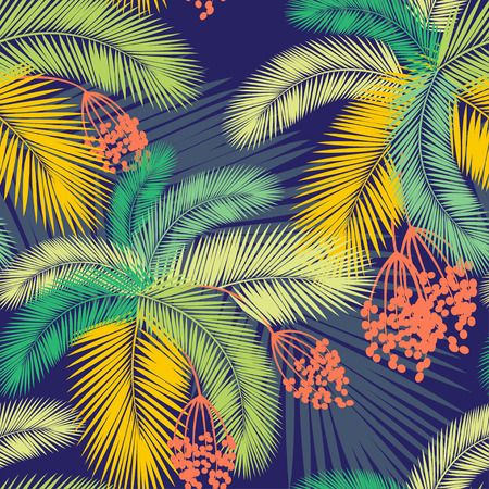 Vector illustration Vector illustration Seamless color palm leaves and fruit pattern