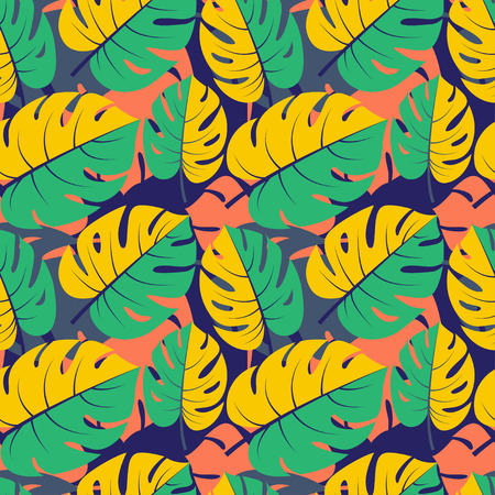 fabric art: Vector illustration Beautiful seamless tropical jungle floral graphic seamless background pattern with palm leaves