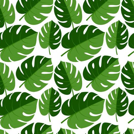 Vector illustratie Mooie naadloze tropische jungle bloemen grafische naadloze achtergrond patroon met palmbladeren