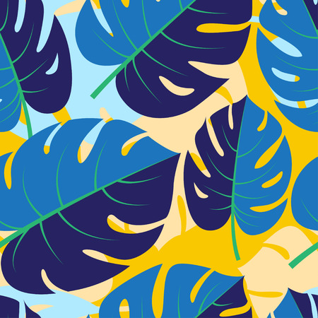 Vector illustration Beautiful seamless tropical jungle floral graphic seamless background pattern with palm leaves
