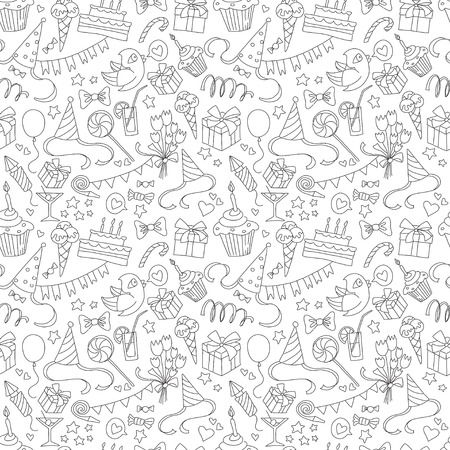 Vector illustration Happy birthday party doodle black and white seamless pattern