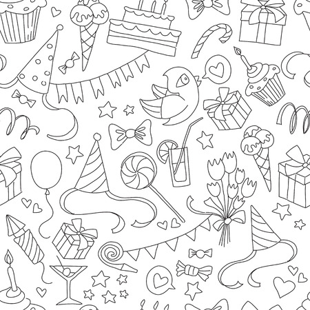 balloon animals: Vector illustration Happy birthday party doodle black and white seamless pattern