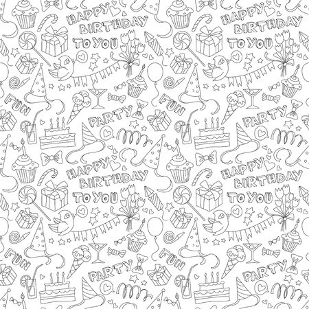 white party: Vector illustration Happy birthday party doodle black and white seamless pattern