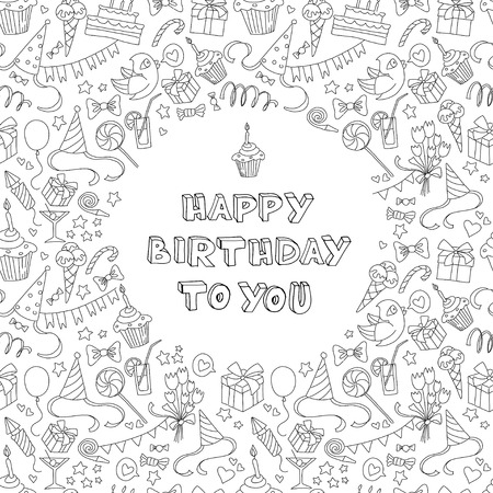 border cartoon: Vector illustration Happy birthday greeting card with hand  drawm pattern and lettering