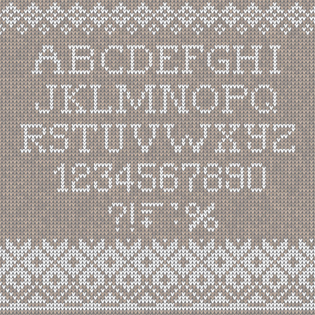 Blue Knitting Letters On Gray Background Royalty Free Cliparts