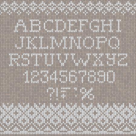 scandinavian christmas: Vector illustration Christmas Font: Scandinavian style seamless knitted
