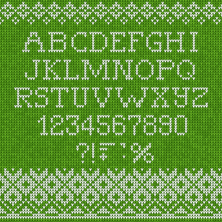 white letters: Vector illustration Christmas Font: Scandinavian style seamless knitted