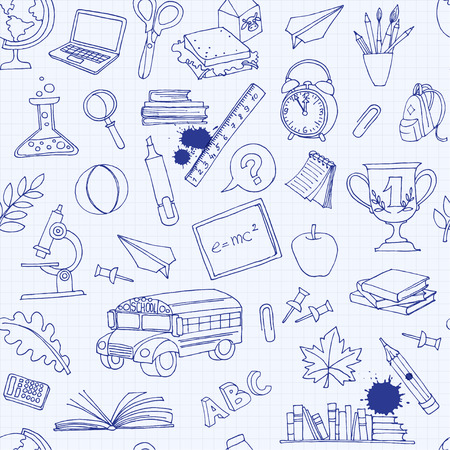Vector illustration  Back to school seamless pattern of kids doodles with bus, books, computer, blackboard and world map on notebook grid sheet Vettoriali
