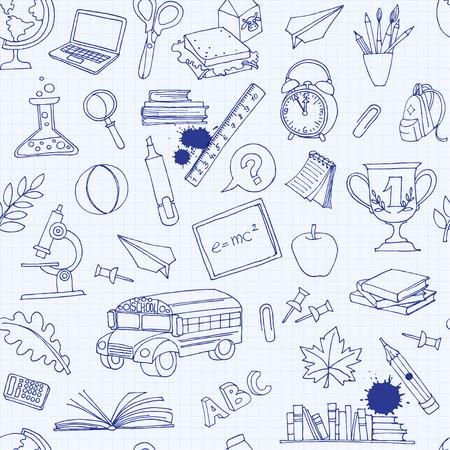 Vector illustratie Terug naar school naadloze patroon van kinderen Doodles met bus, boeken, computer, bord en kaart van de wereld op notebook raster Stock Illustratie