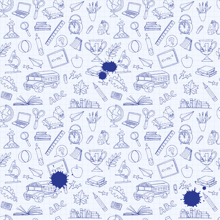 Vector illustration  Back to school seamless pattern of kids doodles with bus, books, computer, blackboard and world map on notebook grid sheet  イラスト・ベクター素材