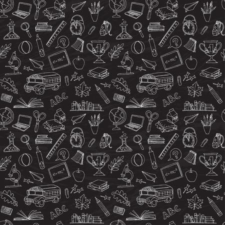 Vector illustration  Back to school seamless pattern of kids doodles with bus, books, computer and world map on blackboard