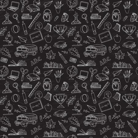 Vector illustration seamless Retour à l'école des enfants griffonne avec le bus, livres, ordinateur et la carte du monde sur le tableau noir Vecteurs