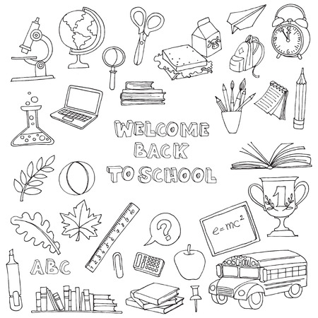 hand with pencil: Vector illustration Back to school set of kids doodles with bus, books, computer, blackboard and world map