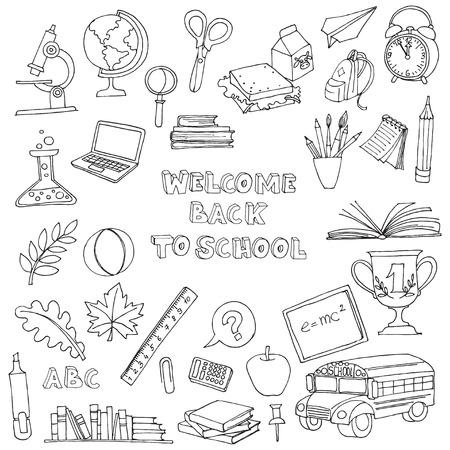 escuela caricatura: Vector ilustración Volver a la escuela juego de niños doodles con autobús, libros, ordenador, pizarra y mapa del mundo