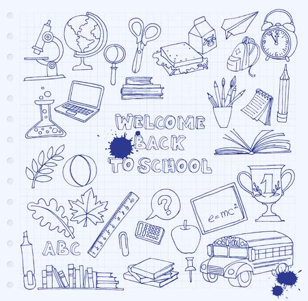 Vector illustratie Terug naar school set van kinderen doodles met bus, boeken, computer, bord en kaart van de wereld op de notebook raster