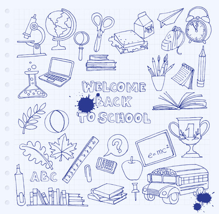 pens: Vector illustration Back to school set of kids doodles with bus, books, computer, blackboard and world map on notebook grid sheet