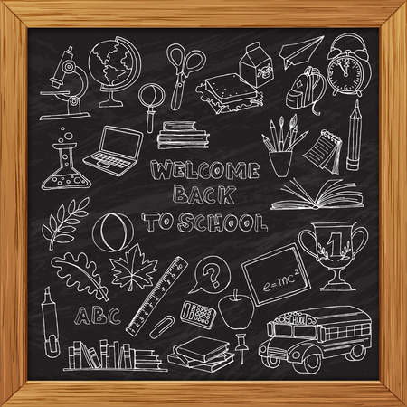 cartoon clock: Vector illustration Back to school set of kids doodles with bus, books, computer and world map on blackboard wooden frame
