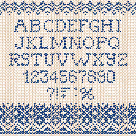 Vector illustration Christmas Font: Scandinavian style seamless knitted ornament pattern Ilustração