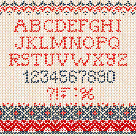 Vector illustration Christmas Font: Scandinavian style seamless knitted ornament pattern  イラスト・ベクター素材