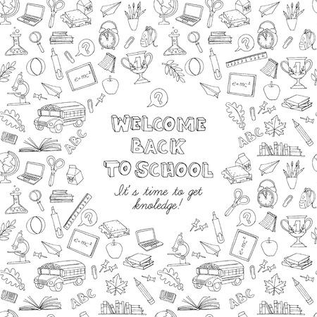 Vector illustratie Terug naar school wenskaart van kinderen Doodles met bus, boeken, computer, bord en wereldkaart. Zwart en wit Stock Illustratie