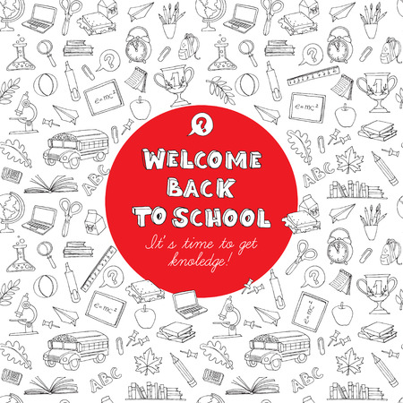 Vector illustration  Back to school greeting card of kids doodles with bus, books, computer, blackboard and world map