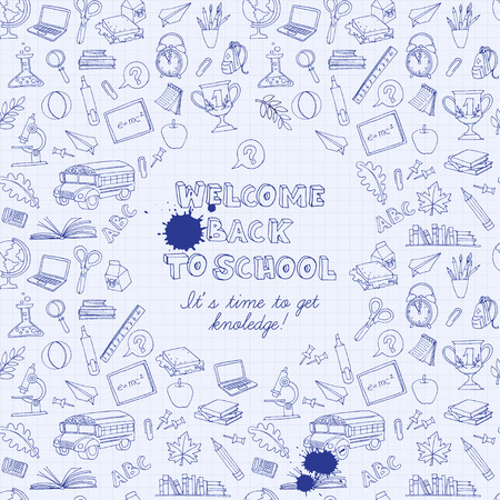 school illustration: Vector illustration Back to school greeting card of kids doodles with bus, books, computer, blackboard and world map on notebook grid sheet