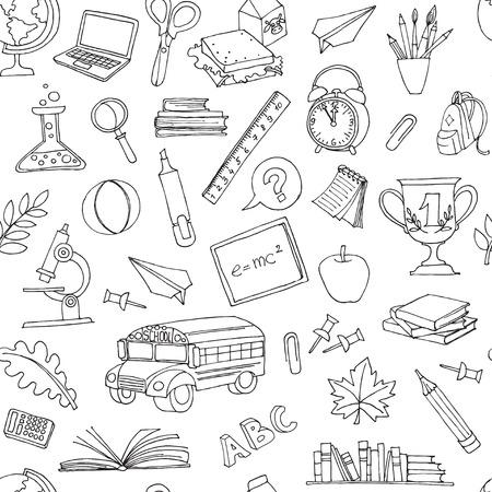 学校バス、本、コンピューター、黒板、世界地図で子供のいたずら書きのシームレスなパターンへのベクトル図  イラスト・ベクター素材