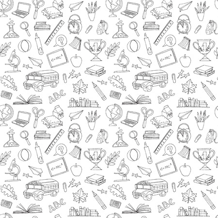 Vector illustration Back to school seamless pattern of kids doodles with bus, books, computer, blackboard and world map