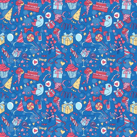 Vectorillustratie Gelukkige verjaardagspartij naadloze hand getekend gekleurd patroon met cadeau, bloemen, cake, cocktail, vogel, heden, ballon