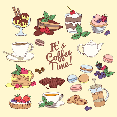 ice tea: Vector illustration Set of fresh desserts with coffee, tea, berry, ice cream, cupcakes and chocolate