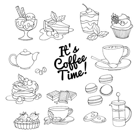 ice tea: Vector illustration Set of fresh desserts with coffee, tea, berry, ice cream, cupcakes and chocolate. Black and white Illustration