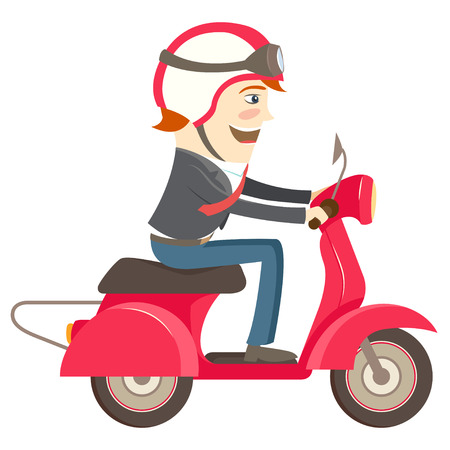 Vector illustration Funny hipster businessman character wearing helmet and glasses riding red scooter Illustration