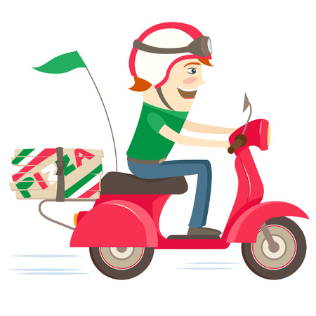 ベクターのイラスト面白いピザ配達の少年が白い背景の上にヘルメットが分離された制服を着て赤いバイクに乗って