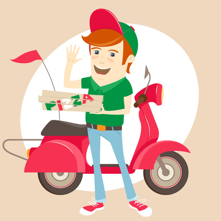 handsome boy: Vector illustration Funny pizza delivery boy in front of red motor bike wearing uniform and waving