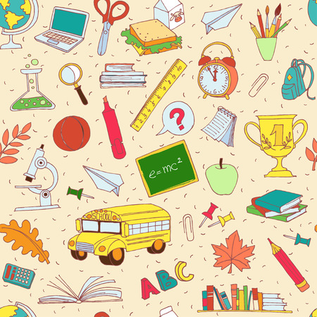 science text: Vector illustration  Vector illustration Back to school seamless pattern of kids doodles with bus, books, computer, blackboard and world map