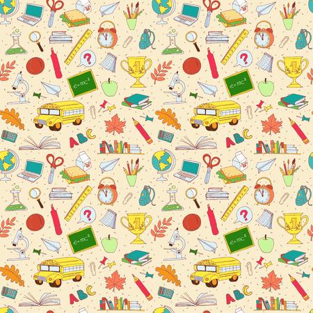 Vector illustratie Vector illustratie Terug naar school naadloze patroon van de kinderen doodles met bus, boeken, computer, bord en wereldkaart Stock Illustratie